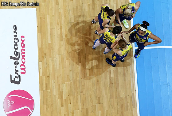 The Good Angels Kosice starting five before the third-place game against Bourges